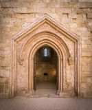 Old entrance in Castel del Monte, famous medieval fortress in Apulia, southern Italy. Royalty Free Stock Photography