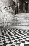 Old entrance with stairs - black white tiles Stock Image