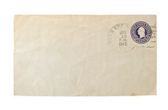 Old envelop with calcelled stamp Royalty Free Stock Images