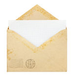Old envelope with blank card Stock Images