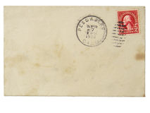 Old envelope with 1928 2 cent stamp stock images