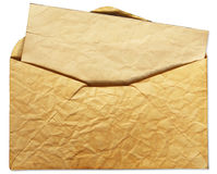 Old envelope with letter inside. Isolate on white background Stock Photography