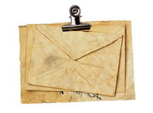 Old envelope and papper sheets close up Royalty Free Stock Images