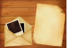 Old envelope with photos and old paper Royalty Free Stock Photo