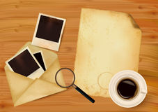Old envelope with photos and old paper. On wooden background. Vector royalty free illustration