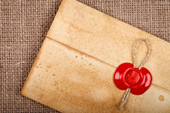 Old envelope with wax seal Stock Image