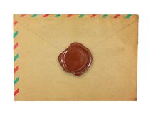 Old envelope with wax seal. Royalty Free Stock Photo