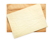 Old Envelope With Blank Note Royalty Free Stock Image