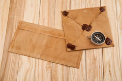 Old envelopes and compass Royalty Free Stock Photography