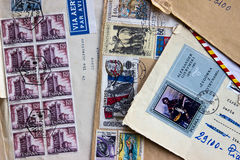 Old envelopes dispatched to Italy in the 60s. The stamps are Spanish, Czechs and Polish, from my private philatelic collection Royalty Free Stock Photo