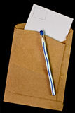 Old envelopes and a pen. Stock Photo