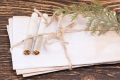Old envelopes on the table with cigarettes concept royalty free stock photos