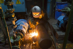 The old equipment repairing and welding Royalty Free Stock Image