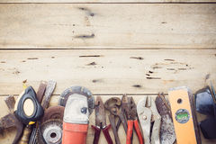 Old equipment tools group set royalty free stock images