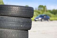 Old erased tires heaped Royalty Free Stock Photos