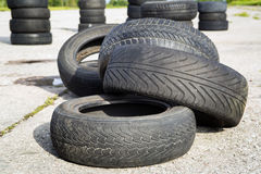 Old erased tires Royalty Free Stock Photo