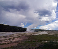Old Eruption. Old Faithful at Yellowstone National Park in eruption royalty free stock photo