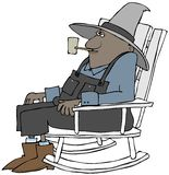 Old ethnic farmer in a rocking chair. Illustration of an old black man wearing coveralls and smoking a corncob pipe sitting in a rocking chair royalty free illustration