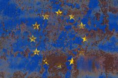 Old EU grunge background flag, European Union flag.  Royalty Free Stock Images