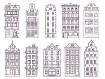Old Europe Houses and Homes Set. Traditional scandinavian and old europe house collection in thin line design. Traditional Amsterdam and Stockholm residential Stock Photography