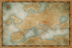 Old Europe map nautical theme background Royalty Free Stock Image
