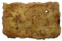 Old Europe Map on Yellowed Parchment stock photo