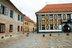 Old europe square. Old streets in town in croatia Stock Images