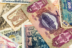 Old European banknotes background Stock Image