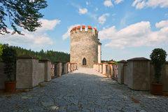 Old european castle tower gate. Well restored tower gate beyonf the bridge in classic european castle stock photo