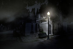 Old european cemetery by night Stock Photos