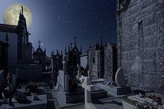 Old european cemetery at night Royalty Free Stock Photography