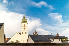 Old European church roof over cloudy sky Royalty Free Stock Image