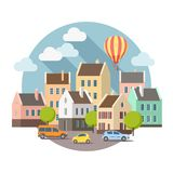 Old european city background in vector stock illustration