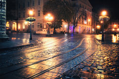 Old European city at night Royalty Free Stock Image