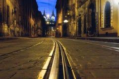 Free Old European City Pedestrian Street Night City Lights. Royalty Free Stock Photos - 186180228