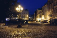 Free Old European City Pedestrian Street Night City Lights. O Royalty Free Stock Images - 186180189