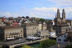 Zurich city view on a bright sunny day. An old European city Zurich, Switzerland, on a bright sunny day. Old buildings. Roof tops on the background. Altstadt Stock Photography