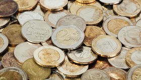 Old european coins background Stock Photo
