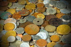 Old European Coins Background Stock Images