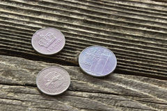 Old European coins currency Royalty Free Stock Photos