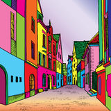 Old european cosy street. Funky journey. Predistant street in euoropean city. Colorful panorama city  background in 1960s pop art style Stock Photos