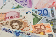 Old european currencies Royalty Free Stock Images