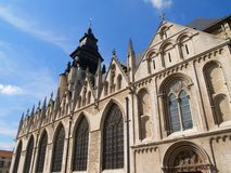 Old European gothic church. Outside view of the gothic Kapellekerk (church) in downtown Brussels (Belgium stock images