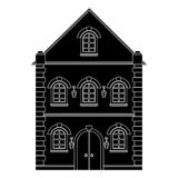Old european house. Flat black drawing. Vector illustration isolated on white background vector illustration