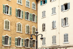 Old European house with windows Stock Images