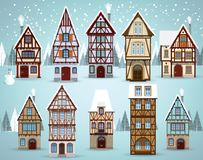 Old european houses Winter royalty free illustration