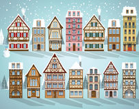 Old european houses Winter Stock Photo
