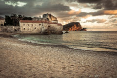 European landmark sea fort with medieval architecture at sunset beach in Europe country Montenegro of Balkan peninsula Stock Images