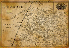 Old European map on old paper Royalty Free Stock Images