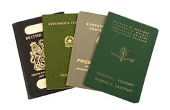 Old European passports. White background Royalty Free Stock Photography